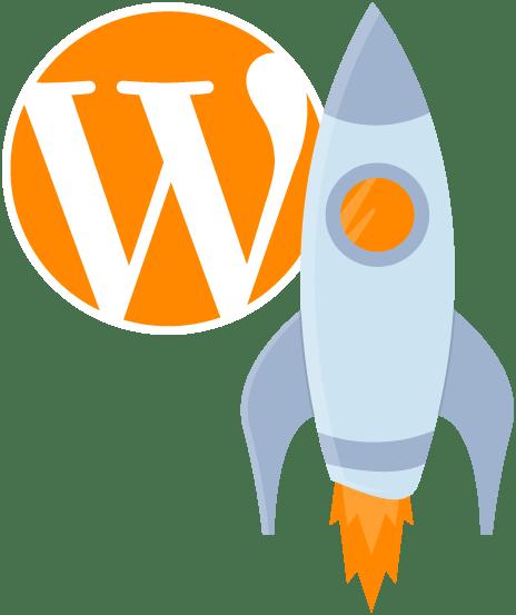 Website Geschwindigkeit - WordPress Logo mit Rakete